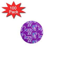 Cute Violet Elephants Pattern 1  Mini Magnets (100 Pack)