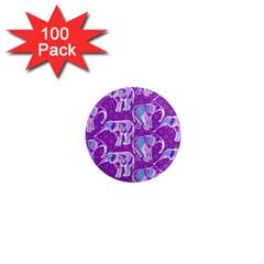 Cute Violet Elephants Pattern 1  Mini Magnets (100 Pack)  by DanaeStudio