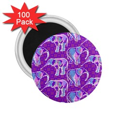 Cute Violet Elephants Pattern 2 25  Magnets (100 Pack)  by DanaeStudio