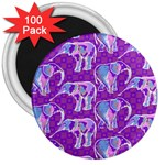 Cute Violet Elephants Pattern 3  Magnets (100 pack) Front