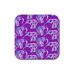 Cute Violet Elephants Pattern Rubber Square Coaster (4 Pack)  by DanaeStudio