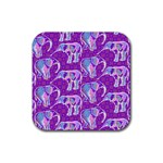 Cute Violet Elephants Pattern Rubber Square Coaster (4 pack)