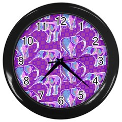 Cute Violet Elephants Pattern Wall Clocks (black) by DanaeStudio