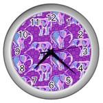 Cute Violet Elephants Pattern Wall Clocks (Silver)  Front