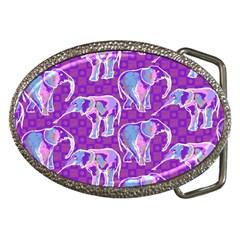Cute Violet Elephants Pattern Belt Buckles