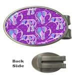 Cute Violet Elephants Pattern Money Clips (Oval)  Front