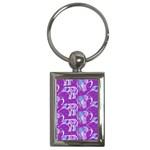 Cute Violet Elephants Pattern Key Chains (Rectangle)  Front