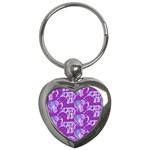 Cute Violet Elephants Pattern Key Chains (Heart)