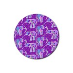 Cute Violet Elephants Pattern Rubber Coaster (Round)  Front
