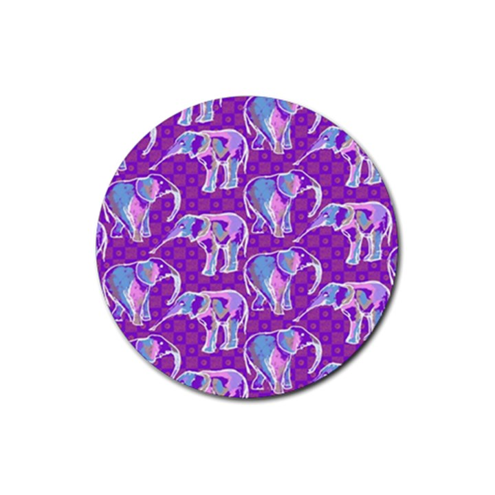 Cute Violet Elephants Pattern Rubber Coaster (Round)