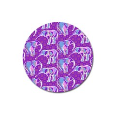 Cute Violet Elephants Pattern Magnet 3  (round) by DanaeStudio