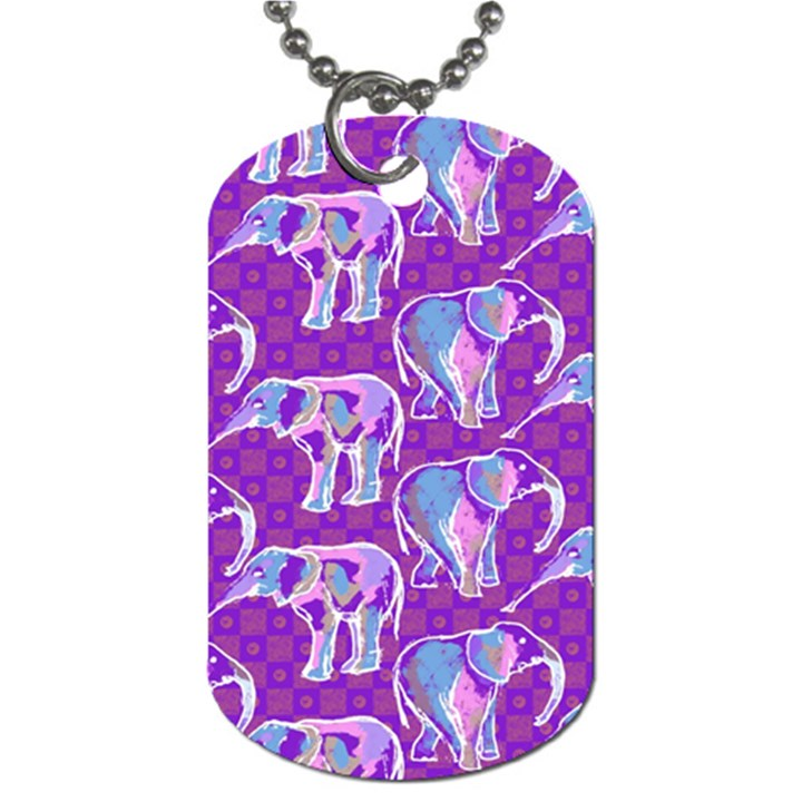 Cute Violet Elephants Pattern Dog Tag (Two Sides)