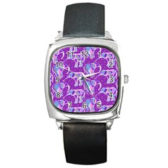 Cute Violet Elephants Pattern Square Metal Watch by DanaeStudio
