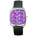 Cute Violet Elephants Pattern Square Metal Watch Front