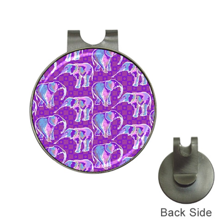 Cute Violet Elephants Pattern Hat Clips with Golf Markers