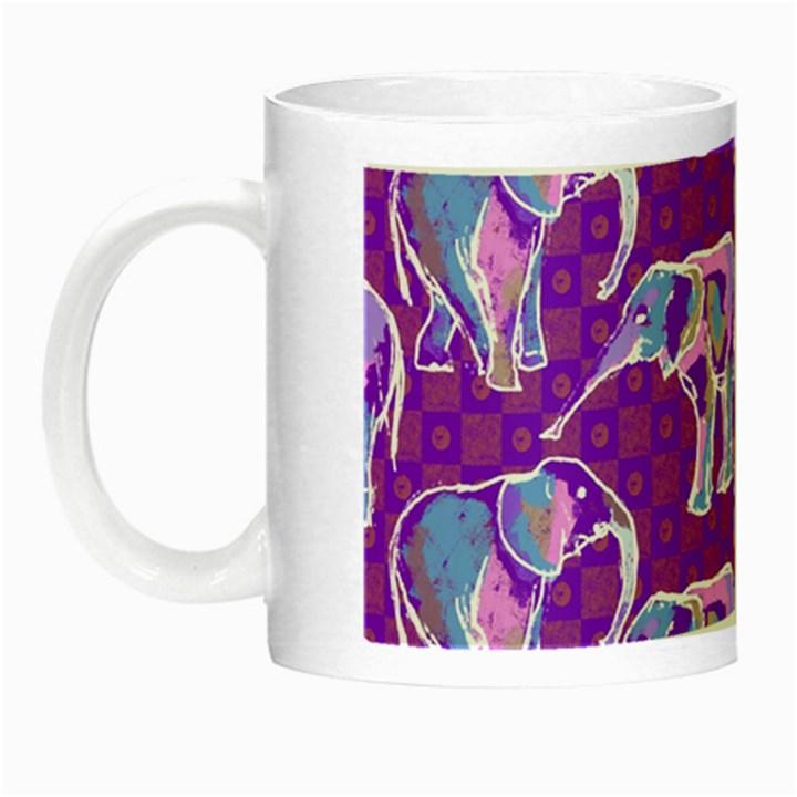 Cute Violet Elephants Pattern Night Luminous Mugs