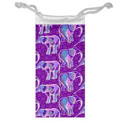 Cute Violet Elephants Pattern Jewelry Bags by DanaeStudio
