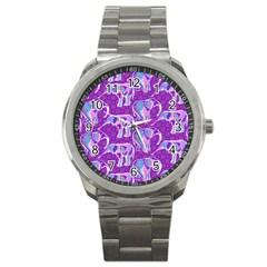 Cute Violet Elephants Pattern Sport Metal Watch