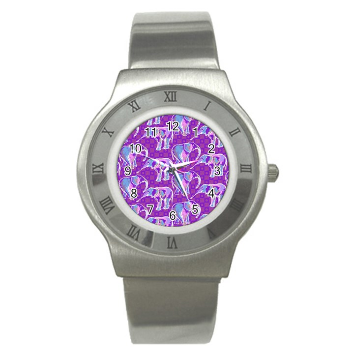 Cute Violet Elephants Pattern Stainless Steel Watch