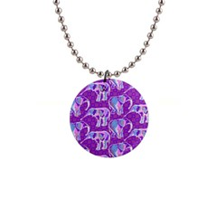 Cute Violet Elephants Pattern Button Necklaces