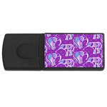 Cute Violet Elephants Pattern USB Flash Drive Rectangular (4 GB)