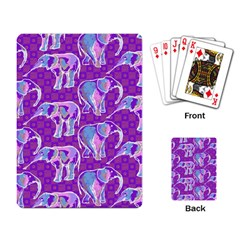 Cute Violet Elephants Pattern Playing Card by DanaeStudio