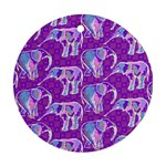 Cute Violet Elephants Pattern Round Ornament (Two Sides)  Front
