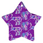 Cute Violet Elephants Pattern Star Ornament (Two Sides)  Front