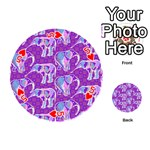 Cute Violet Elephants Pattern Playing Cards 54 (Round)  Front - Heart5