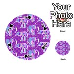 Cute Violet Elephants Pattern Playing Cards 54 (Round)  Front - SpadeJ