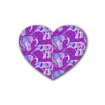 Cute Violet Elephants Pattern Rubber Coaster (Heart)  Front