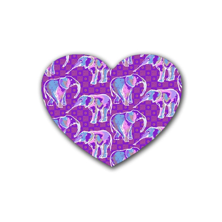 Cute Violet Elephants Pattern Rubber Coaster (Heart)