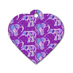 Cute Violet Elephants Pattern Dog Tag Heart (Two Sides) Back