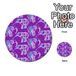 Cute Violet Elephants Pattern Multi-purpose Cards (Round)  Front 23