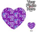 Cute Violet Elephants Pattern Multi-purpose Cards (Heart)  Front 5
