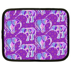 Cute Violet Elephants Pattern Netbook Case (large) by DanaeStudio