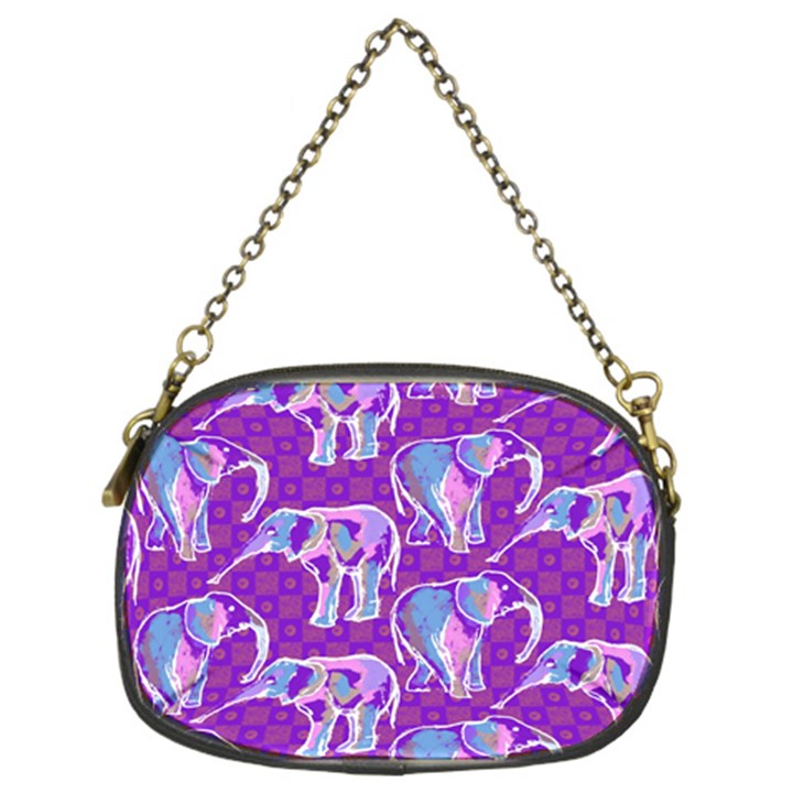 Cute Violet Elephants Pattern Chain Purses (Two Sides)