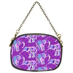 Cute Violet Elephants Pattern Chain Purses (Two Sides)  Back