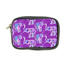 Cute Violet Elephants Pattern Coin Purse