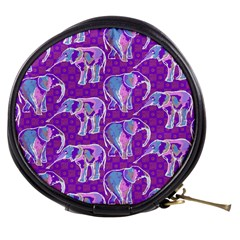 Cute Violet Elephants Pattern Mini Makeup Bags by DanaeStudio