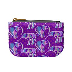 Cute Violet Elephants Pattern Mini Coin Purses by DanaeStudio