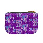 Cute Violet Elephants Pattern Mini Coin Purses Back