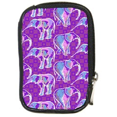 Cute Violet Elephants Pattern Compact Camera Cases by DanaeStudio