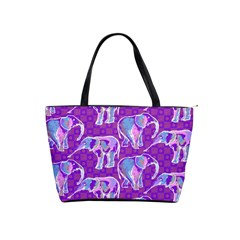 Cute Violet Elephants Pattern Shoulder Handbags by DanaeStudio
