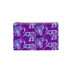 Cute Violet Elephants Pattern Cosmetic Bag (small)  by DanaeStudio