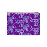 Cute Violet Elephants Pattern Cosmetic Bag (Medium)  Back