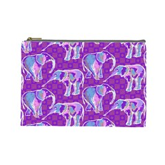 Cute Violet Elephants Pattern Cosmetic Bag (large)  by DanaeStudio