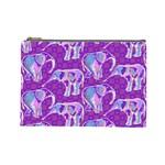 Cute Violet Elephants Pattern Cosmetic Bag (Large)