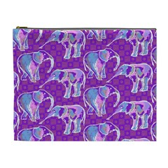 Cute Violet Elephants Pattern Cosmetic Bag (xl) by DanaeStudio