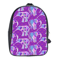 Cute Violet Elephants Pattern School Bags(large)  by DanaeStudio